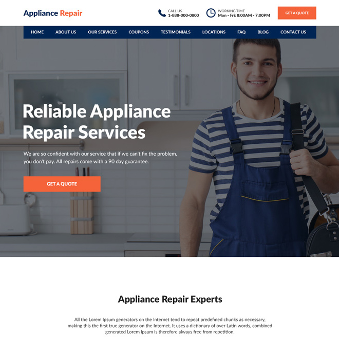 appliance repair service experts responsive website design Appliance Repair example