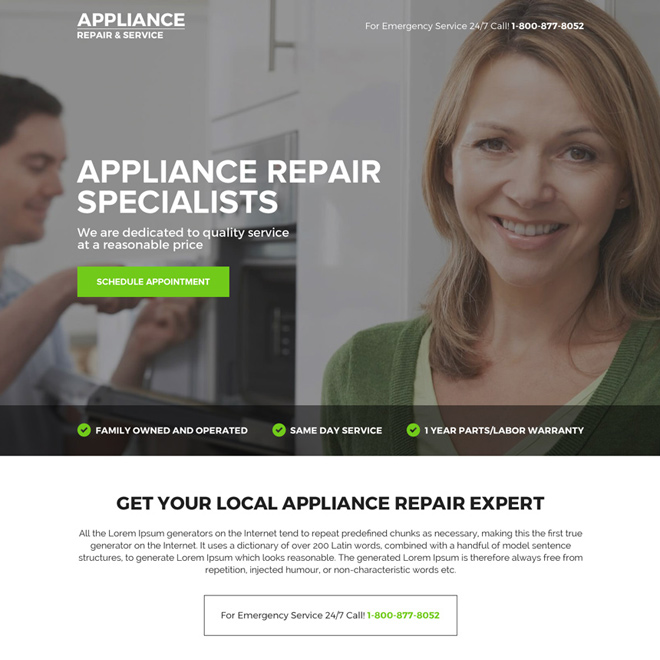 appliance repair specialist mini call to action landing page Appliance Repair example