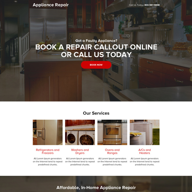 appliance repair call to action mini landing page design Appliance Repair example