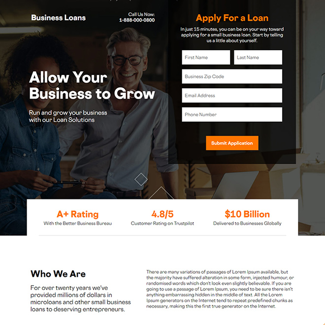 business funding responsive landing page design Business Loan example