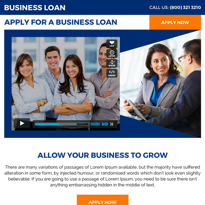 clean business loan video ppv landing page design Business Loan example