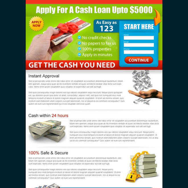 cash loan simple and clean landing page template Loan example