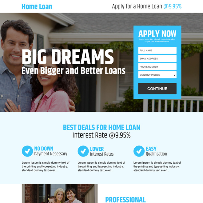 home loan application lead gen responsive landing page design Home Loan example