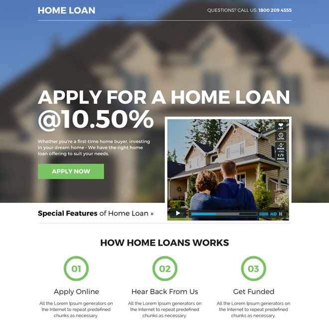 home loan mini video landing page design Home Loan example