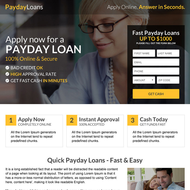 payday loan quick approval mini landing page design Payday Loan example