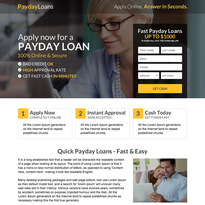 responsive payday loan lead capturing mini landing page Payday Loan example