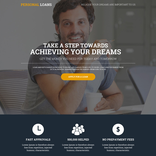 modern personal loan online lead gen landing page design Loan example