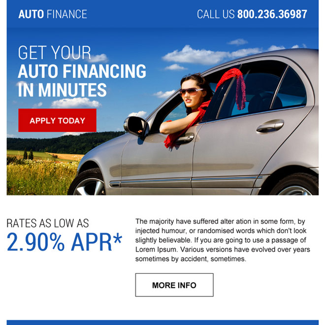 professional auto finance call to action ppv landing page Auto Finance example