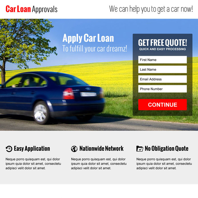 clean and converting car loan approval lead capture landing page design Auto Financing example