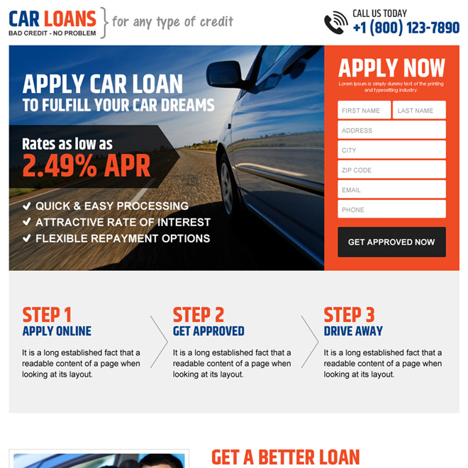 clean car loan responsive landing page design template Auto Financing example