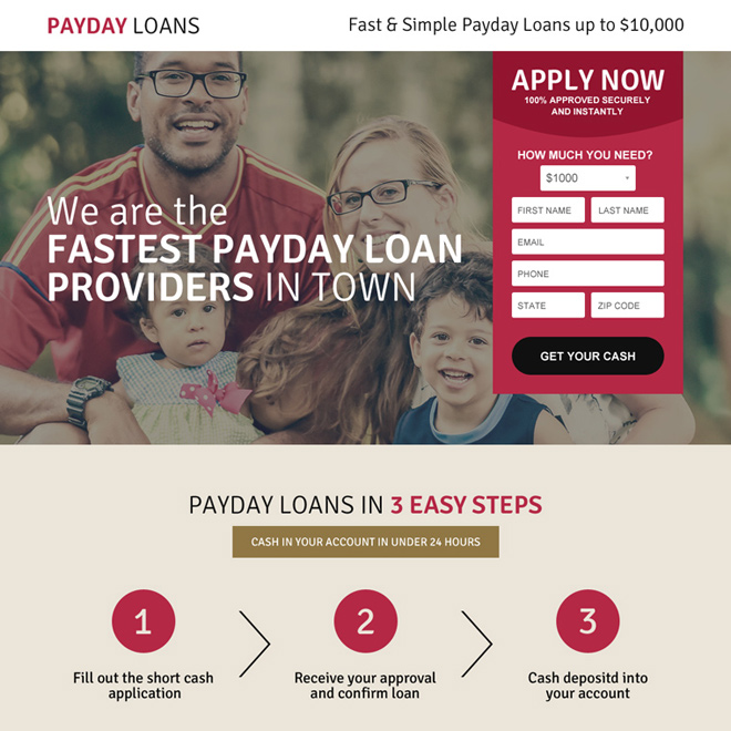 fastest payday loan landing page design template Payday Loan example