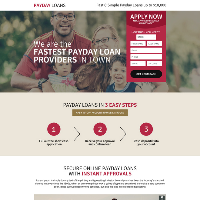fastest payday loan responsive landing page design Payday Loan example