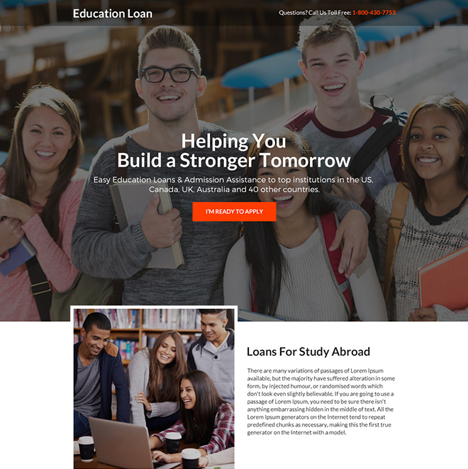 student loan online application responsive landing page design Loan example