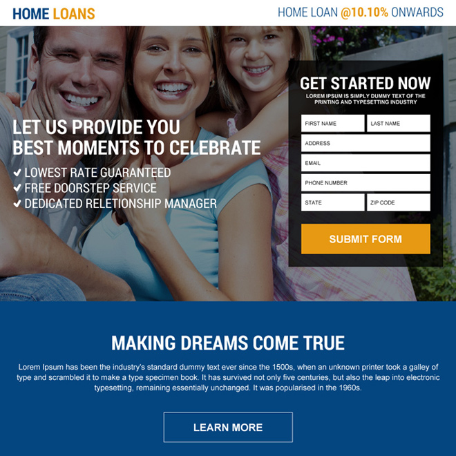 responsive online home loan lead capturing landing page design Home Loan example