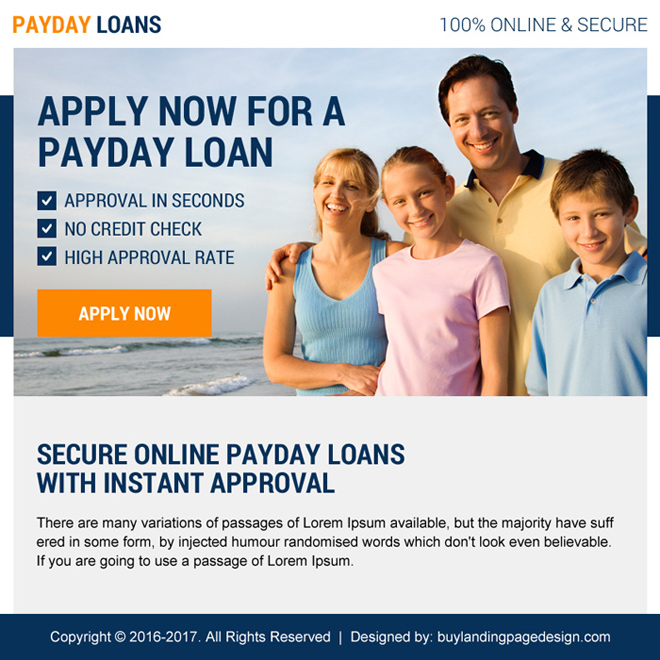 effective payday loan ppv landing page design Payday Loan example