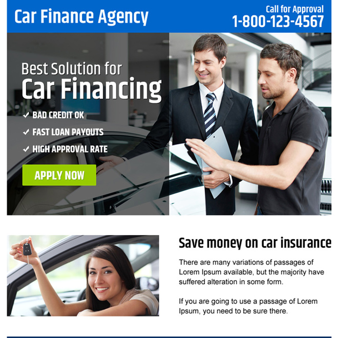 car finance agency ppv landing page design Auto Finance example