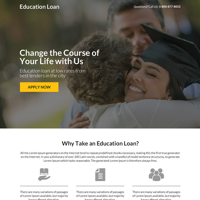 minimal education loan responsive landing page design Loan example