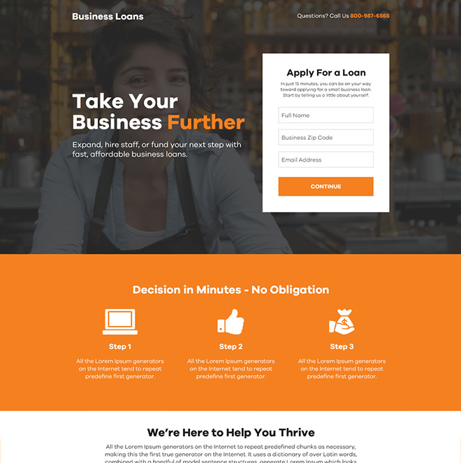 instant business loan online application responsive landing page Business Loan example