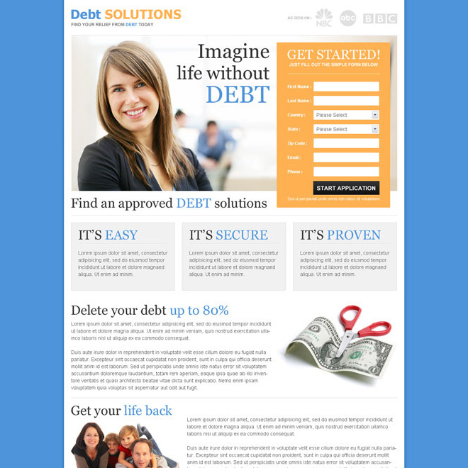 imagine life without debt converting landing page to boost your traffic Debt example