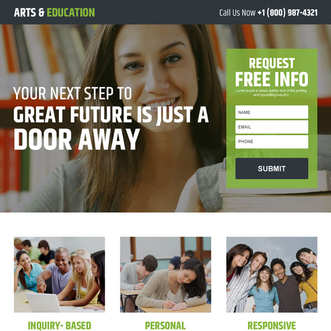 art and education free information lead generating landing page Education example