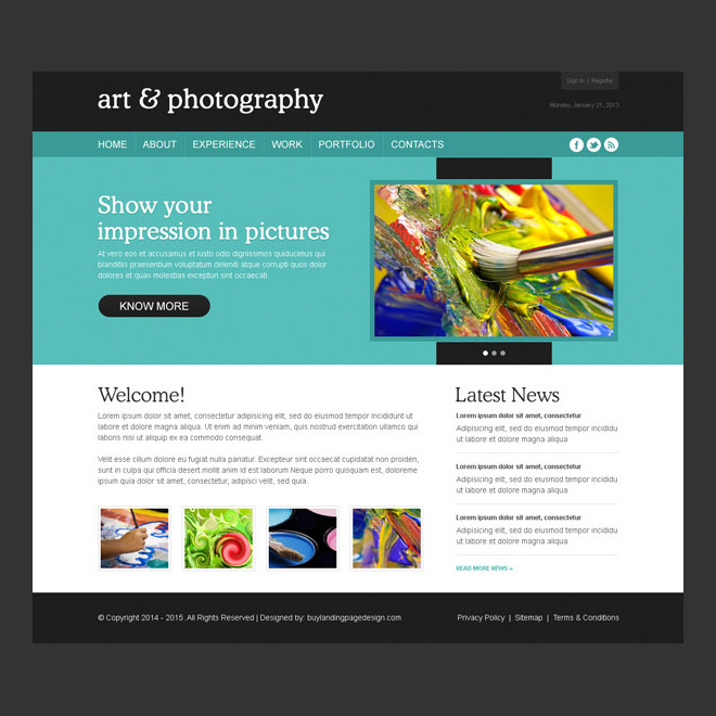 attractive and easy to use art and photography design psd Website Template PSD example