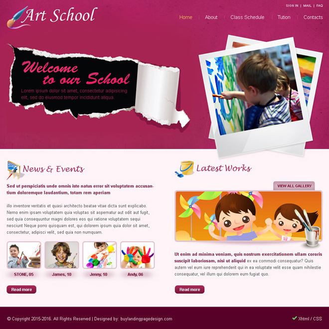 art school website template psd for sale Website Template PSD example