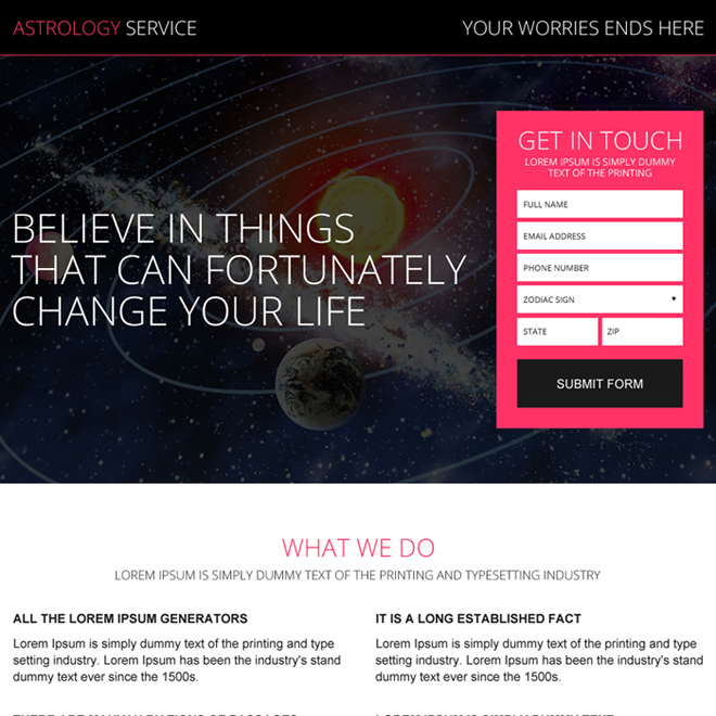 online daily horoscope service landing page design Astrology example