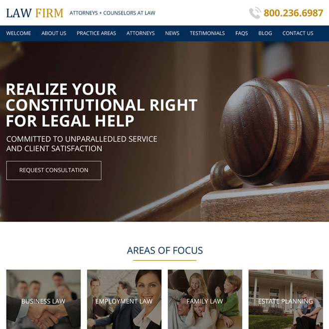 attorney and law html website design template Attorney and Law example