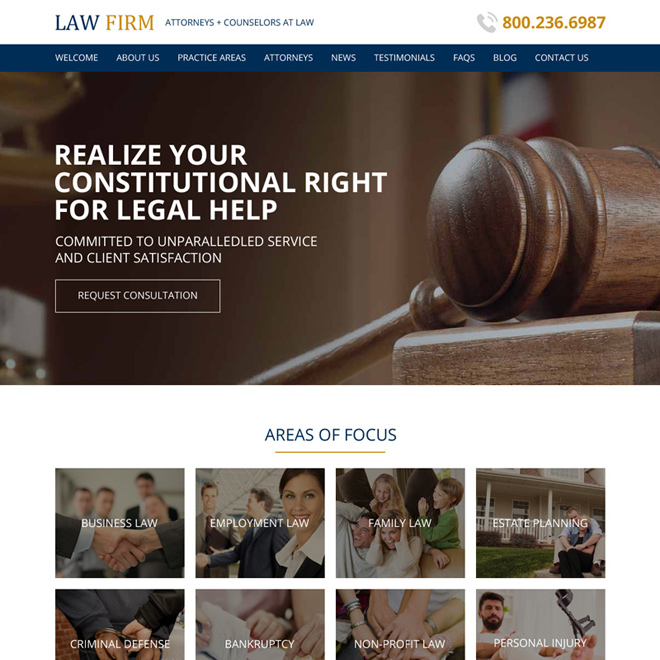 law firm free consultation responsive website design Attorney and Law example
