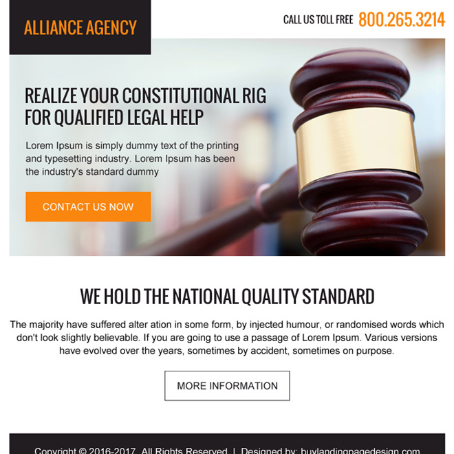 attorney and lawyer agencies ppv landing page Attorney and Law example