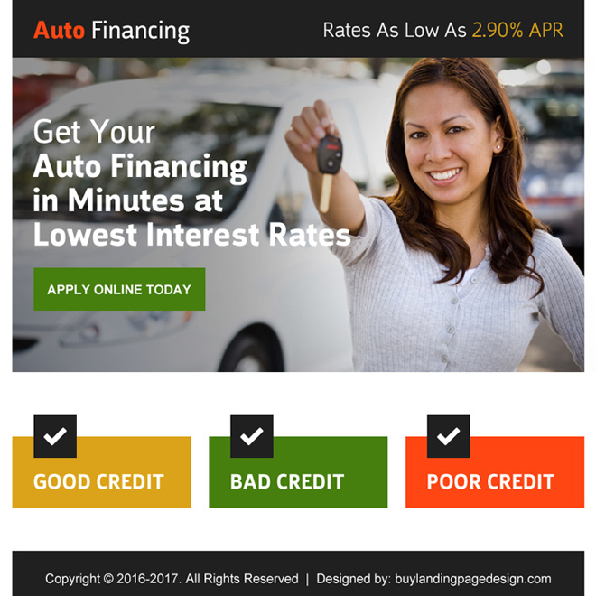auto financing online application ppv landing page Auto Finance example