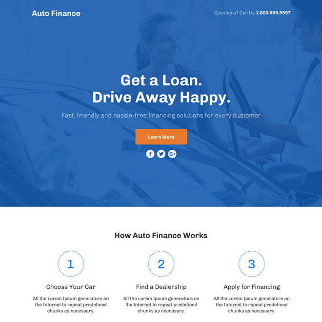 auto finance lead funnel responsive landing page design Auto Financing example