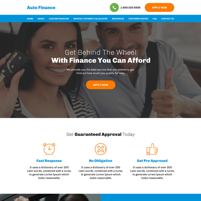 auto financing and refinancing minimal website design Auto Financing example