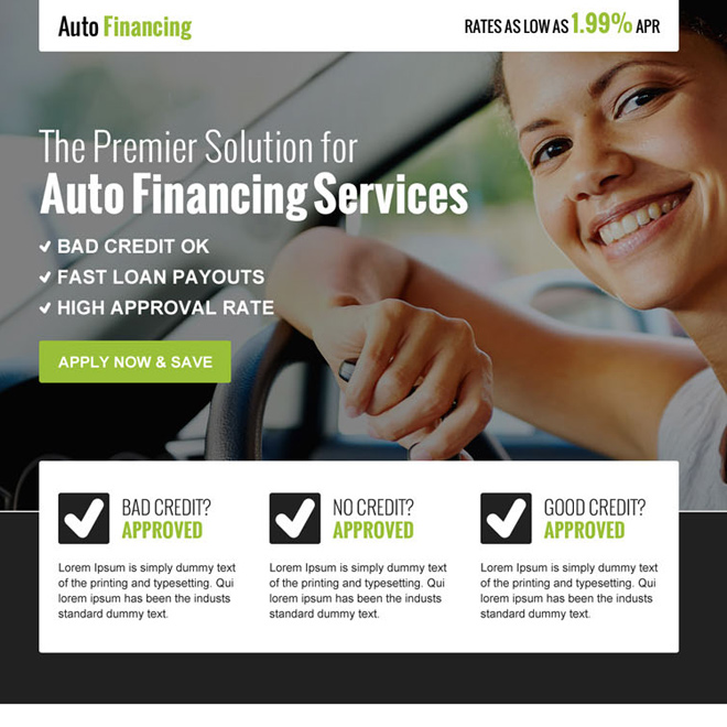 converting auto financing business service call to action landing page design Auto Financing example
