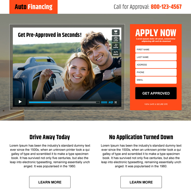 auto financing converting video landing page design Auto Financing example
