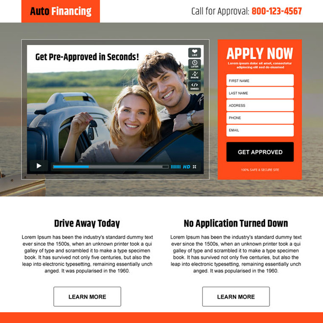 auto financing converting responsive video landing page design Auto Financing example
