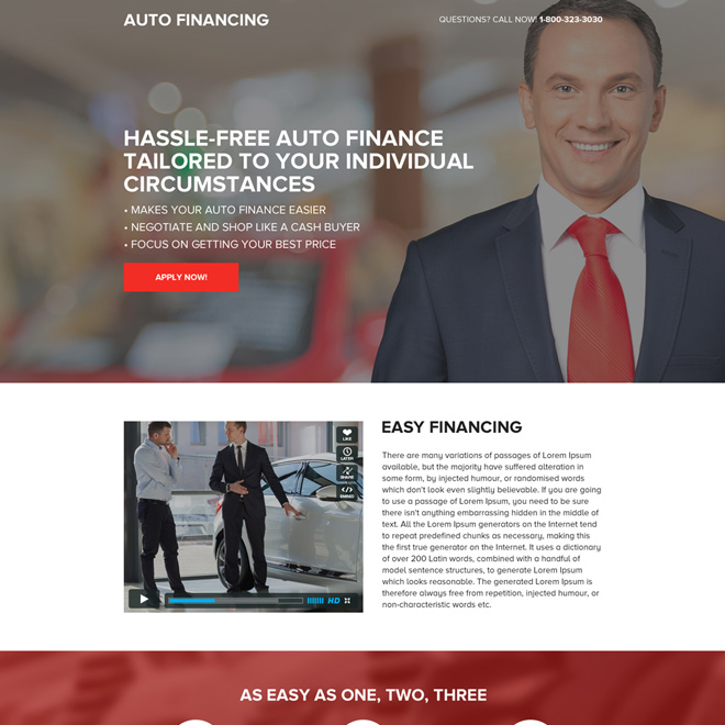 clean and minimal auto financing mini landing page design Auto Financing example