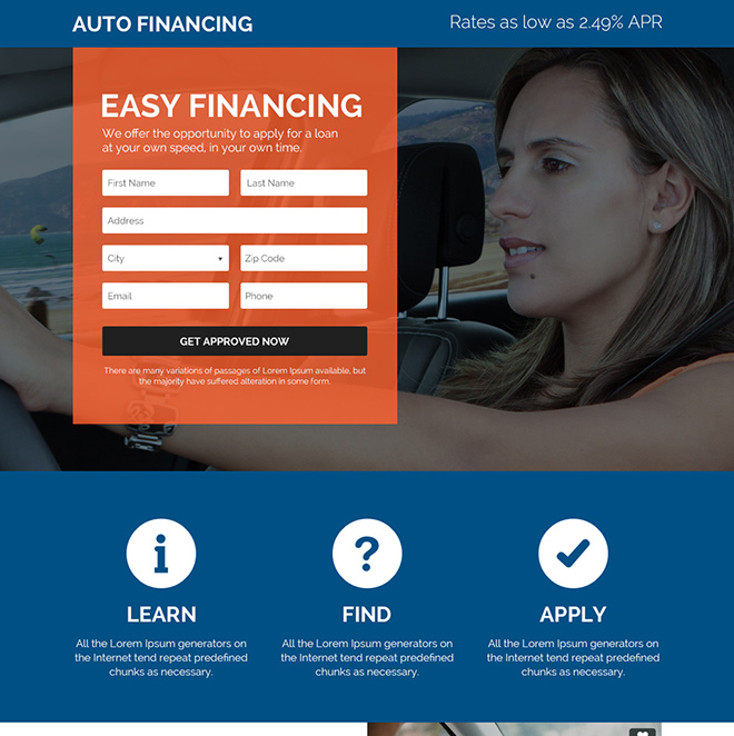 special auto financing solutions responsive landing page Auto Financing example