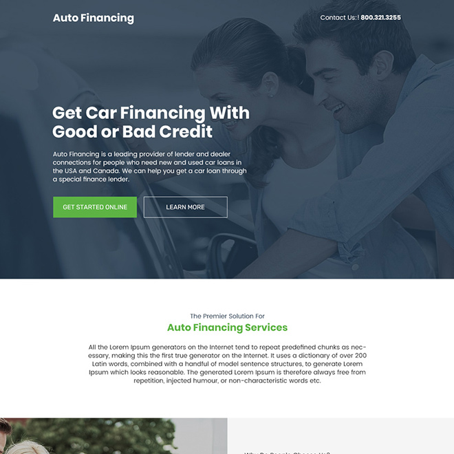 auto financing services responsive landing page design Auto Financing example