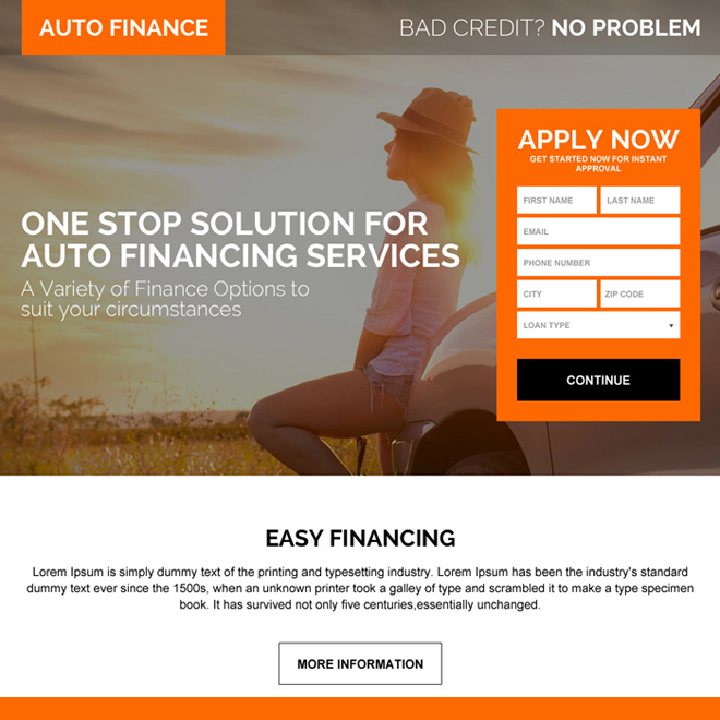 auto financing solution landing page design page for capturing positive leads Auto Financing example
