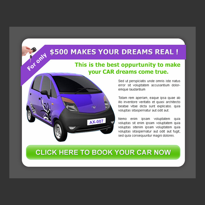 best opportunity to make your car dream come true ppv landing page design PPV Landing Page example