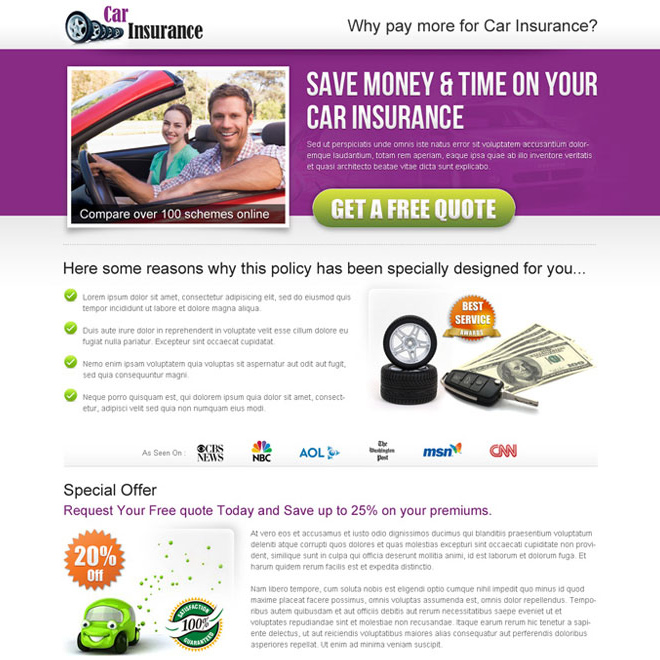 auto insurance business landing page design templates Auto Insurance example