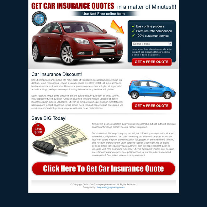clean auto insurance lead capture landing page design Auto Insurance example
