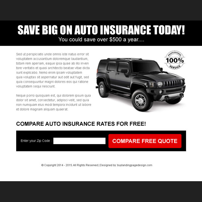 simple auto insurance black zip capture ppv landing page Auto Insurance example