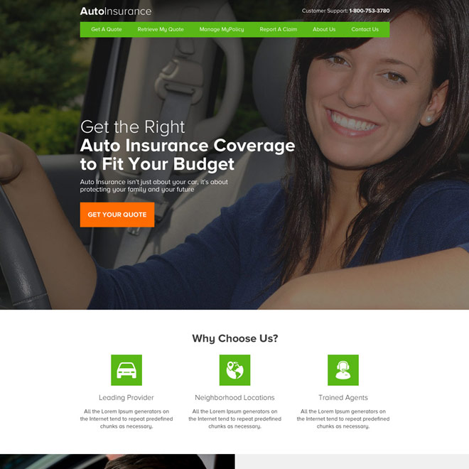 professional auto insurance coverage html website design Auto Insurance example