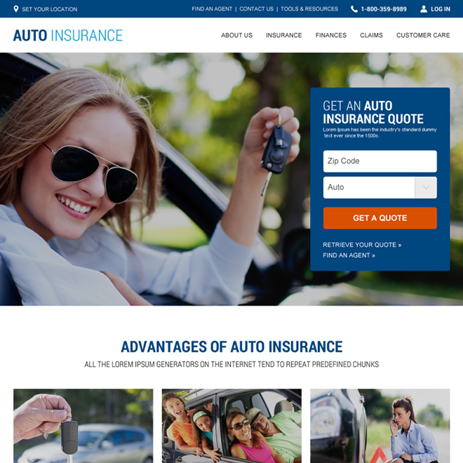 auto insurance html website template design Auto Insurance example