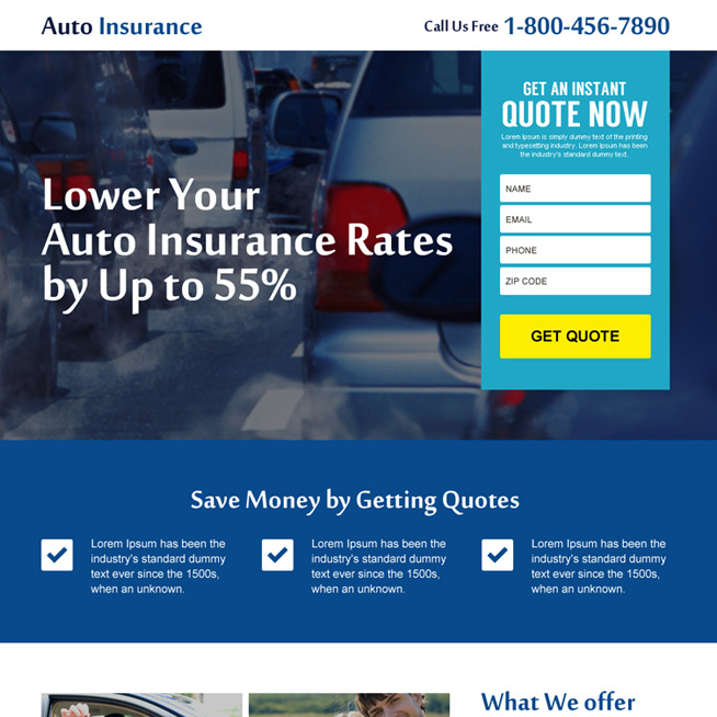 auto insurance instant quote responsive landing page design Auto Insurance example