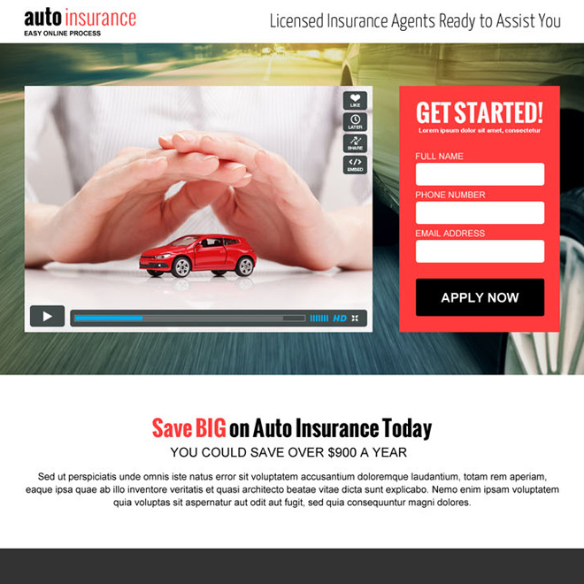 auto insurance lead capture converting video landing page design template Auto Insurance example