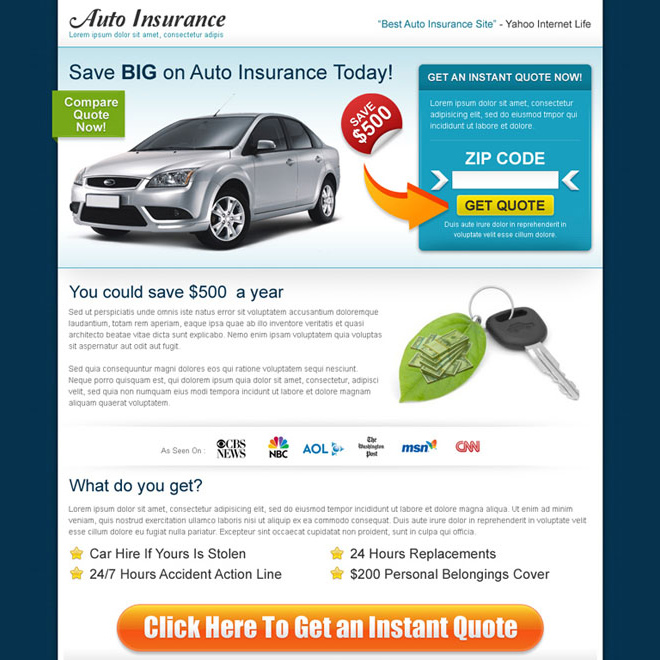 auto insurance search by zip code landing page design Auto Insurance example