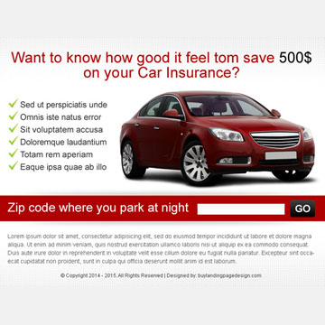 zip capture car insurance ppv landing page design PPV Landing Page example